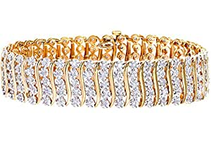Naava Women's 3 ct Diamond Pave Setting Bracelet in 9 ct Yellow Gold