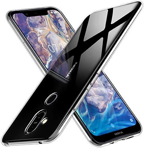 Peakally Nokia 8.1 Hülle, Soft Silikon Dünn Transparent Hüllen [Kratzfest] [Anti Slip] Durchsichtige TPU Schutzhülle Case Weiche Handyhülle für Nokia 8.1 -Klar