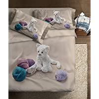 "Ipersan  Juego Nordico Set ""Fine Art""  impresa fotografica   - My Sweet Cat  color gris/blanco 205x240cm"
