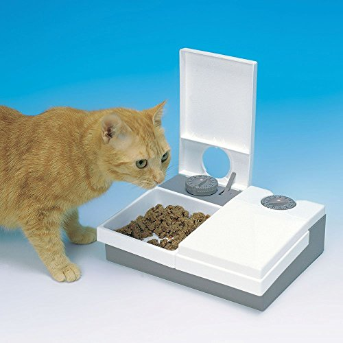 Cat Mate C20 Automatic 2 Meal Pet Feeder for Cats and Small Dogs – White