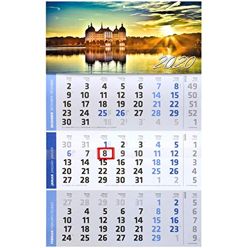 1 Stück Motiv Moritzburg 3 Monats Wandkalender 2020 Kalender Officekalender Bürokalender Wandplaner