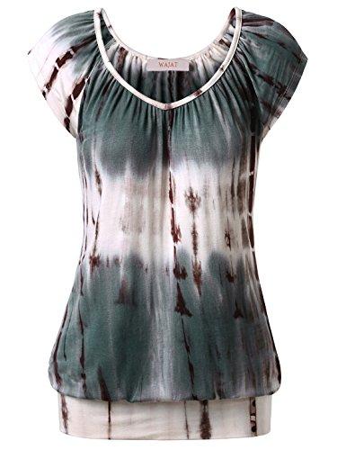 wajat-damen-raglan-falten-t-shirt-kurzarm-stretch-v-ausschnitt-tie-dye-kaffee-xl