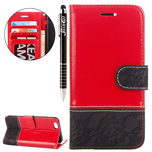 iPhone 6 Plus Custodia, iPhone 6S Plus Cover Wallet, SainCat Custodia in Pelle Cover per iPhone 6/6S Plus, Anti-Scratch Protettiva Caso Elegante Creativa Dipinto Pattern Design PU Leather Flip Portafo Rosso + Nero