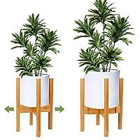 OGIMA Adjustable Plant Stand Plant Holder Mid Century Wood Modern Flower Potted Holder Rack for Indoor Outdoor (EXCLUDING White Planter Pot)
