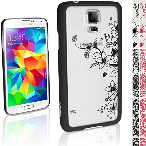 """igadgitz """"3D Designer Collection'' Schwarz Blumen Muster Hart Tasche Hülle für Samsung Galaxy S5 SV SM-G900 + Display Schutzfolie"""