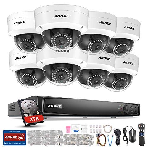 ANNKE 8CH POE NVR Überwachungssystem, 6MP Netzwerk Video Recorder + 8 * 1080P IP Überwachungsskameras mit 3TB Überwachung Festplatte, POE Plug und Play, Bewegungserkennung mit E-Mail Alarm