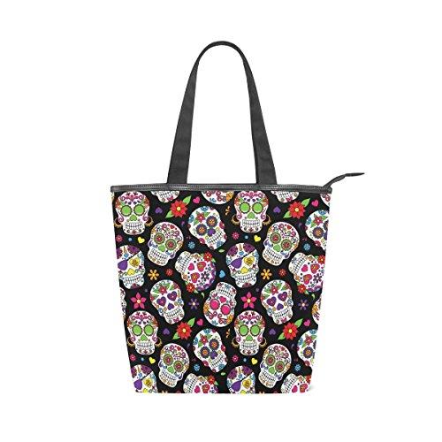 Jeansame Einkaufstasche aus Segeltuch mit Tragegriff, Schultertaschen mit Reißverschluss, süße Halloween-Totenköpfe mit Blumenmuster