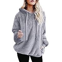 Lazzboy Womens Sweatshirt Hoodie Long Sleeve Warm-up Faux Fur Zipper Pocket Fleece Hooded Oversized Plus Size,S-5XL(XL(14),Light Grey)
