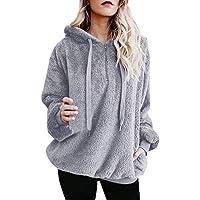 Yazidan Frauen Winter Oberster Hoodie Sweatshirt Damen Kapuzenpullover Pullover Warm Outfits Flauschige Sweatshirt Dicker Outwear Reine Farbe Strickwaren Hemd Solide Mantel Sport Jacke(Grau,4XL)
