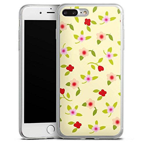 Apple iPhone 8 Plus Slim Case Silikon Hülle Schutzhülle Blumen Muster Herz Silikon Slim Case transparent