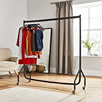 Direct Online Houseware 5Ft Tall x 5Ft Long Quality Heavy Duty Steel Hanging Garment Clothes Rail Black (Next day delivery service available)
