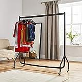 DIRECT ONLINE HOUSEWAR Kleiderständer, mit Rollen, 1,5x1,5m, Stahl, Schwarz, Robust