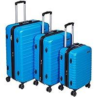 """AmazonBasics Hardside Trolley Luggage - 3 Piece Set (20"""", 24"""", 28""""), Light Blue"""
