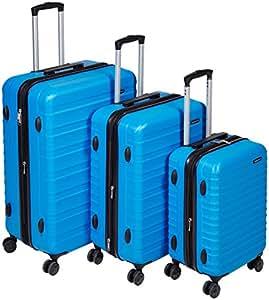 AmazonBasics - Set di trolley rigidi con rotelle girevoli, Set da 3 pezzi (56 cm, 69 cm, 79 cm), Blu chiaro