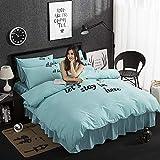 yaonuli Bettbezug aus Baumwolle mit Schleifpapier und dickem Laken blau 2,0 m langes Bett [Gruppe 200 x 220]