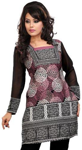 Frauen Kurti Top Tunika Bluse Bedruckte Indien Kleidung (Rosa, XL) (Kleidung Aus Indien)