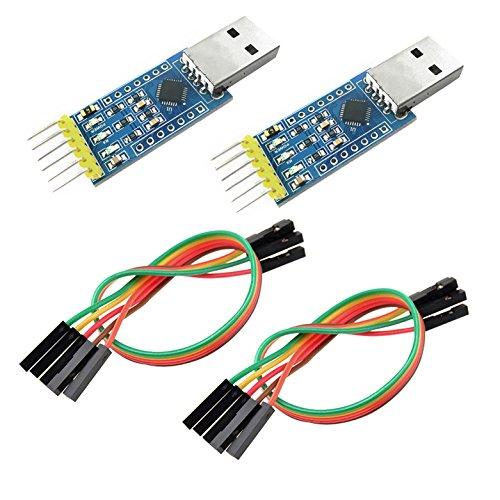 IZOKEE CP2102 USB zu TTL 6PIN Seriell Konverter Adapter Modul Downloader 3,3 V und 5 V für Arduino UNO R3 Pro Mini mit Jumper Kabel (2 Stück) -
