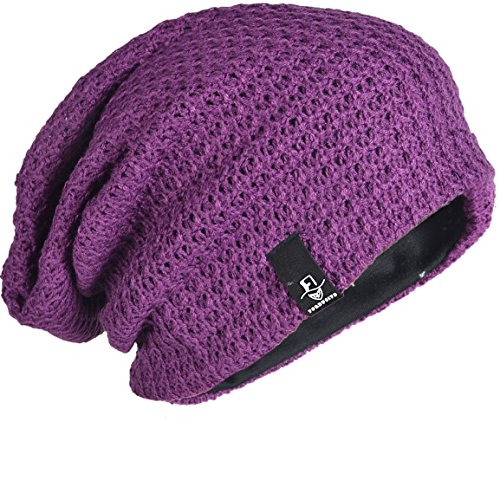 FORBUSITE Beany Mütze Winter Sommer Herren und-Damen-Slouch-Beanie-Mütze-B08(Violett) (Männer Winter Mützen-designer)