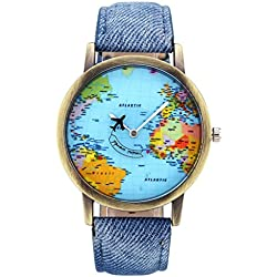 JSDDE Fashion Airplane World Map Watch With Retro Bronze Case Blue Canvas Veins PU Leather Band