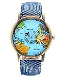 JSDDE Orologio da polso, Vintage mappa del mondo orologio da polso aereo lancetta secondi Denim tessuto della pelle Band quarzo orologio, Vestito Blu