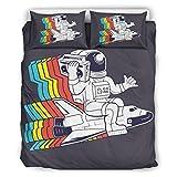 O5KFD&8 Farbige lustige NASA Tagesdeckenbezug Western Style 3-teilig Bettbezug - Schwarz Weich und Bequem Boho Bettwäscheset White 168x229cm