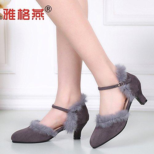DGSA Tanz Schuh Frühling Kaninchen Haar Moderne weibliche Latein Schuhe Rot