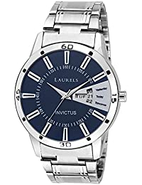 Laurels Invictus Essential Blue Dial Day and Date Wrist Watch - For Men