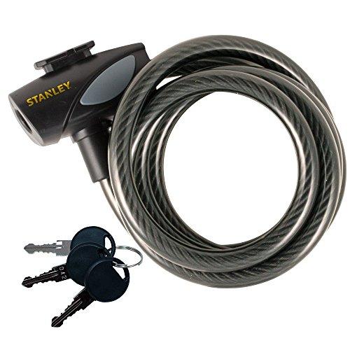 Stanley S755-202 Cable para Bicicletas, 3 Llaves, Negro, 12 x 1800 mm