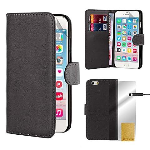 32nd Etui Coque en Cuir PU Portefeuille per Apple iPhone 6 6S Housse avec fentes CB et Clapet Fermeture Magnétique - Noir