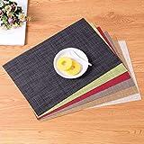 Kakiyi Leinen-Design-PVC Tischset Speise Schüssel-Platten-Auflage Tischdeko Mat Bar-Schalen-Auflage-Untersetzer - 5