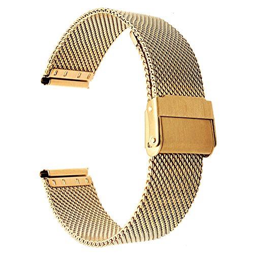 TRUMiRR 14mm Milanese Woven Edelstahlarmband Upgraded Verschluss Handschlaufe für Pebble Time Round 14mm Damen und andere 14mm Lug Uhren (Tool Invicta-band)