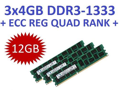 12GB Triple Channel Kit Samsung 3 x 4GB Samsung DDR3 1333Mhz PC3-10600R 240pin, ECC Registered, 128Mx8 36 Chip, Quad Rank, DIMM, 1.5V, CL9, Part# 3x M393B5173FH0-CH9 - Ecc, Registered Quad