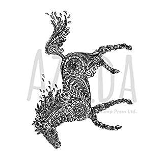 Azeeda A7 'Decorative Floral Horse' Unmounted Rubber Stamp (SP00004708)