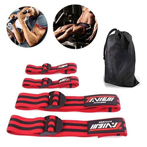 TAVIEW Occlusion-Trainingsbänder, 4 Stück (2 Bizeps, 2 Beinbänder), Bequeme, elastische Bänder für Blutflusseinschränkung, Training und schnelles Muskelwachstum, ohne schwere Gewichte zu Heben