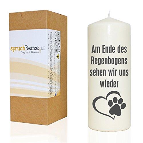 Spruchkerze ~ Am Ende des Regenbogens... / Hund Katze ~ grau ~ 20cm ~ 680g Ø7,5cm ~ Trauer-Kerze mit Spruch ~ Brenndauer ca 70 Std