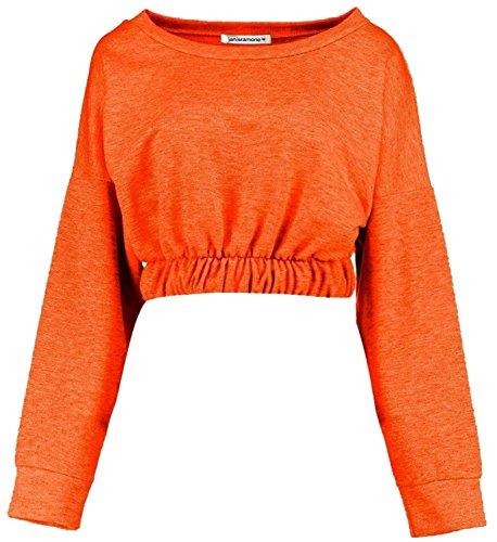 Chocolate Pickle® Nouveau Femmes élastiquée Ourlet Pullover Crop Haut gitan Sweat-shirt Hauts 36-42 Orange