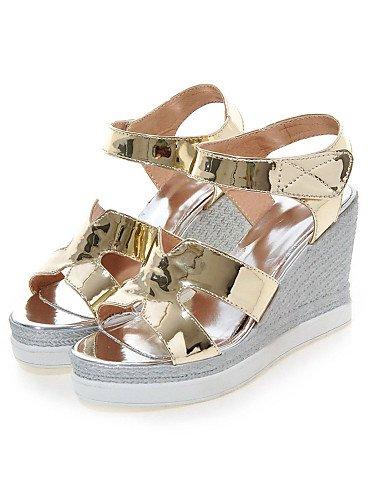 LFNLYX Chaussures Femme-Habillé-Rose / Argent / Or-Talon Compensé-Compensées / A Bride Arrière / Bout Ouvert-Sandales-Cuir Verni / Similicuir golden