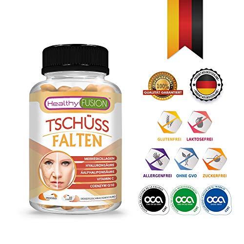 TSCHÜSS FALTEN - Starke Antifaltenbehandlung - Gesunde und mit Feuchtigkeit versorgte Haut - Schützt die Gesundheit der Muskeln und Artikulationen - Hydrolisiertes Kollagen + Hyaluronsäure - 50 G. - Anti-aging-geschenk