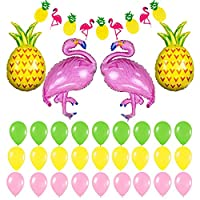 AllGoodWare 32 PCS Hawaii Luau Party Decoration, Flamingo and pineapple balloons Banner for Beach Party, Wedding, Summer Theme Birthday Decoration