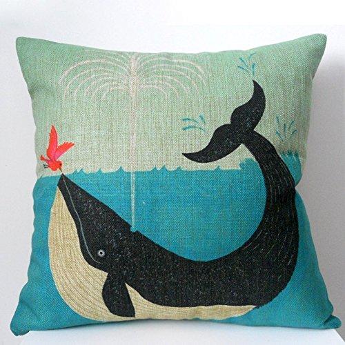 Weihnachten Sofa Deko Leinen Kissenhülle Zierkissenbezug Geschenkidee, Tiere Muster, Grundfarbe Beige (Wal und Vogel Freundschaft)