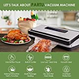 PARTU Vakuumiergerät - Vakuumierer für Trockene und Feuchte Lebensmittel 30cm lang stabile Schweißnaht eingebauter Cutter mit 2 Vakuumrohre, 1 Profi-Folienrollen 28 * 300cm für Sous Vide
