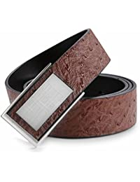 Hardart Classic Stainless Steel Plaid Pattern Solid Buckle Genuine Cow Skin Leather Belt for Men Black