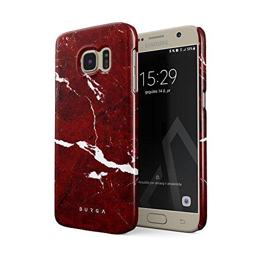 BURGA Hülle Kompatibel mit Samsung Galaxy S7 Handy Huelle Iconic Rubin Rot Marmor Muster Ruby Red Marble Mädchen Dünn, Robuste Rückschale aus Kunststoff Handyhülle Schutz Case Cover Ruby Red Handy
