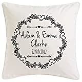 Personalised vintage flourish personalisable cushion- 45 x 45 cm comes with pad Wedding Present, Engagement gift, wedding anniversary idea