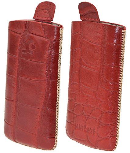 Original Suncase Tasche für Doro 1361 Leder Etui Handytasche Ledertasche Schutzhülle Case Hülle Lasche mit Rückzugfunktion* In Croco-Rot