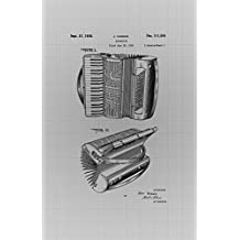 Framable Patent Art PAPMSP16GB The Original Ready to Frame Décor Weird Al Accordian Musical 24in by 36in Patent Art Poster Print Blueprint, Grey