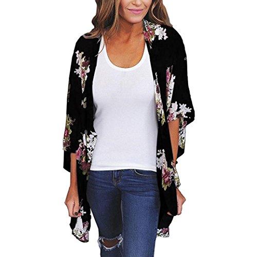 n Lose Schal Print Kimono Cardigan Top Cover up Bluse Beachwear (Schwarz.Medium) (Rot Dorothy-schuhe Für Mädchen)