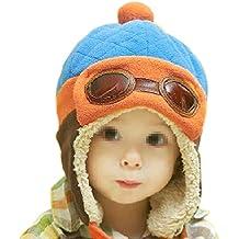 TININNA Bambino Inverno Caldo Carino Pilot Aviator vello Cappello Earflap Cappello con Occhiali earmuffs Berretto Blu