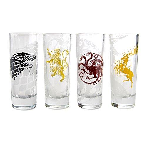 Game of Thrones Häuserwappen Schnapsgläser im 4er Set - Game of Thrones Häuserwappen Shotglas Shooterglas Haus Schnaps-Glas