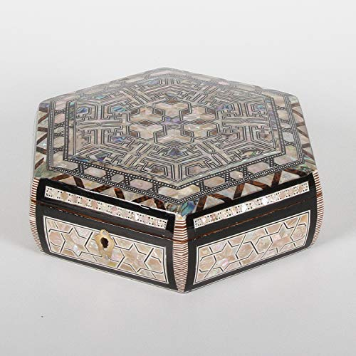 Casa Moro Orientalische Schmuckdose Rana mit Perlmutt Schmukschatulle | Kunsthandwerk aus Ägypten | Handmade Schmuckkästchen Frau oder Freundin | sd18